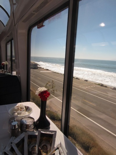 On board the Coast Starlight train